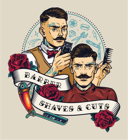 Barbershop colorful vintage label