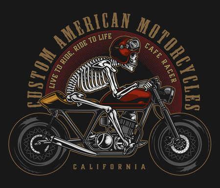 Cafe racer custom motorcycle vintage label Vektorové ilustrace