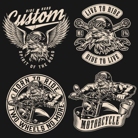 Motorcycle vintage monochrome emblems