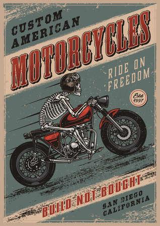 Colorful vintage motorcycle poster Ilustração Vetorial