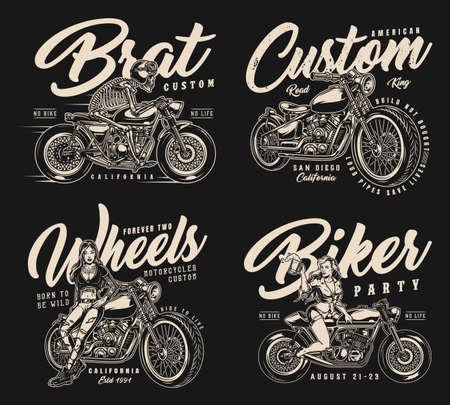 Motorcycle monochrome vintage badges