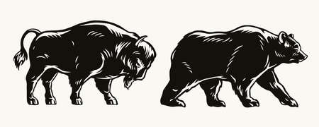 American bison and bear concept Stock Illustratie