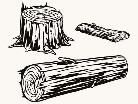 Wood logs and stump concept Stock Illustratie