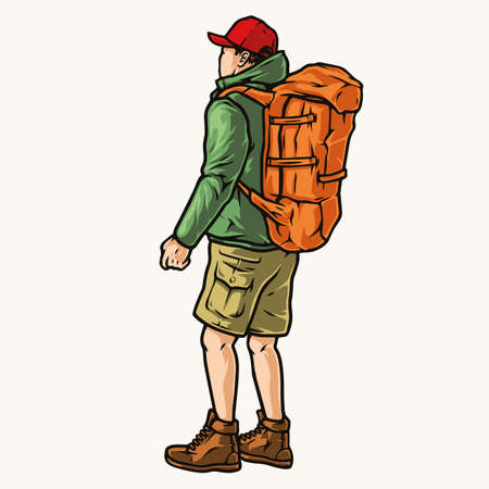 Vintage concept of traveler with backpack Stock Illustratie