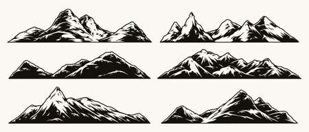 Mountains vintage monochrome collection Stock Illustratie