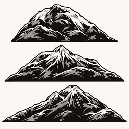Mountains of different shapes vintage set