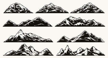 Mountain landscapes composition Stock Illustratie