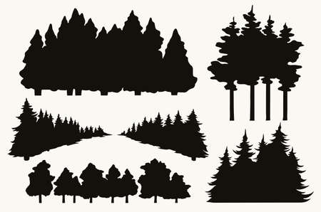 Trees vintage collection Stock Illustratie