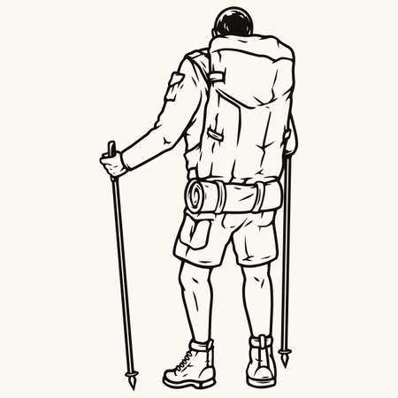 Hiker with trekking poles and backpack