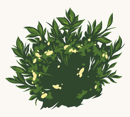 Green bush with flowers concept Stock Illustratie