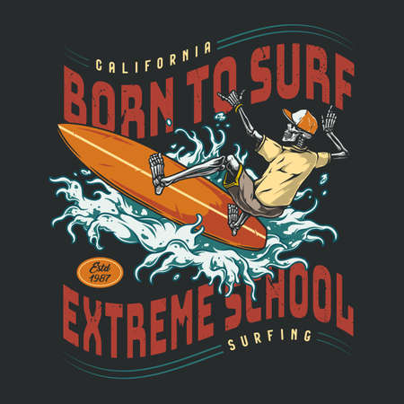 Surfing school vintage colorful logo Stock Illustratie