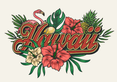 Tropical hawaiian vintage colorful print