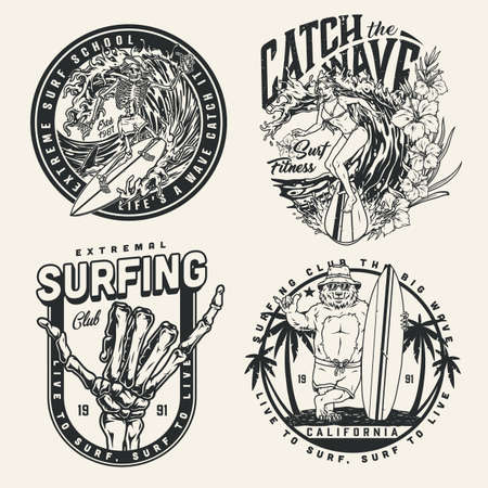 Surfing vintage monochrome emblems