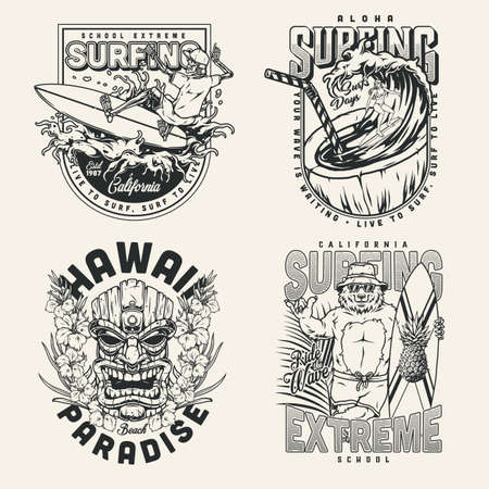 Surfing vintage monochrome designs set Stock Illustratie