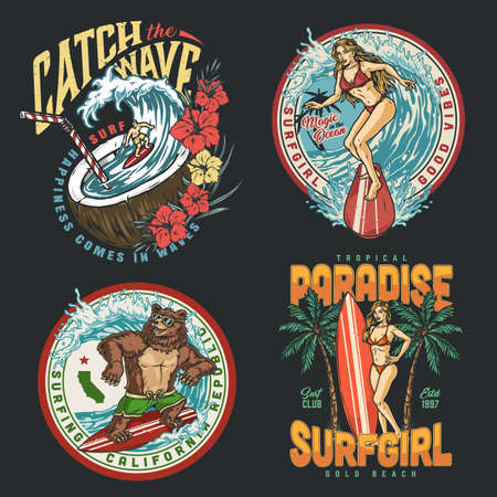 Surfing colorful vintage prints