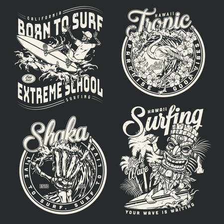 Surfing vintage monochrome designs