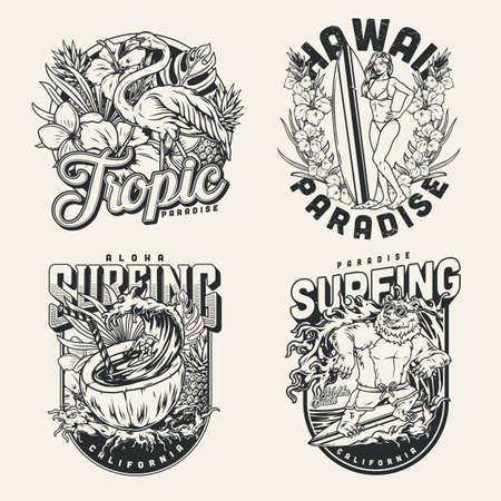 Surfing vintage emblems