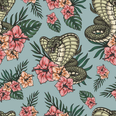Tropical colorful vintage seamless pattern