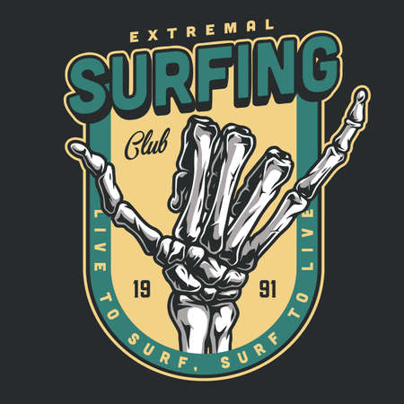 Surfing club vintage colorful badge