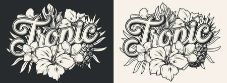 Tropical vintage design in monochrome style