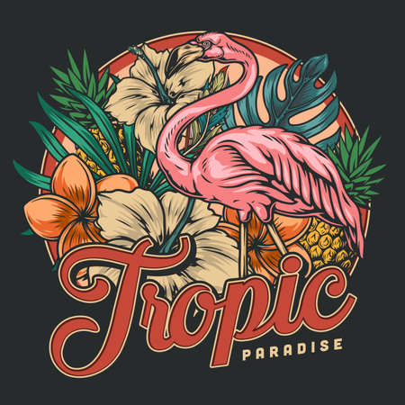 Tropical vintage colorful print Stock Illustratie