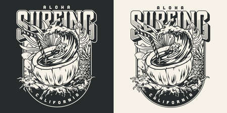 Surfing vintage label Stock Illustratie