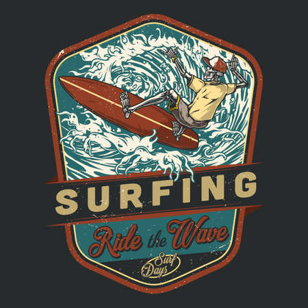 Extreme surfing vintage colorful badge