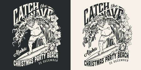 Christmas surfing vintage monochrome label