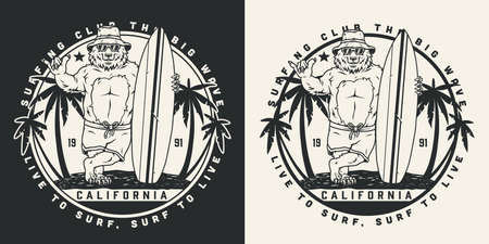 California surfing vintage round label