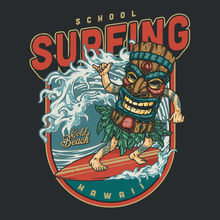 Surfing club vintage colorful design