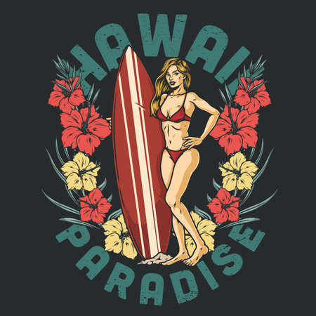 Hawaii surfing vintage print Stock Illustratie