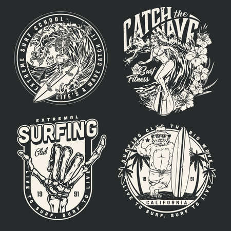 Extreme surfing vintage badges