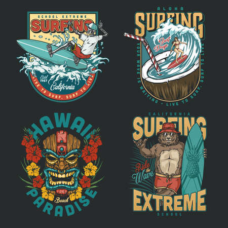 Hawaii surfing vintage colorful emblems