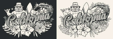 California surfing vintage monochrome emblem Stock Illustratie