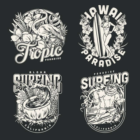 Surfing vintage monochrome labels