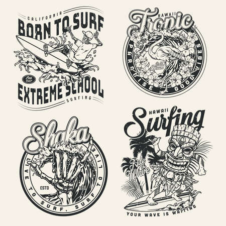 Extreme surfing vintage prints Stock Illustratie
