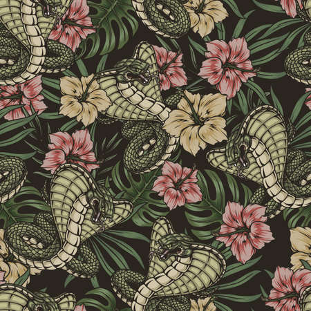 Tropical vintage colorful seamless pattern Stock Illustratie