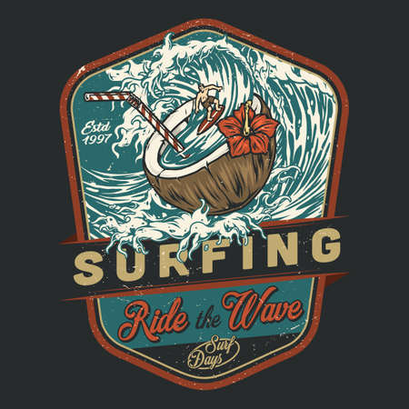 Surfing vintage colorful emblem