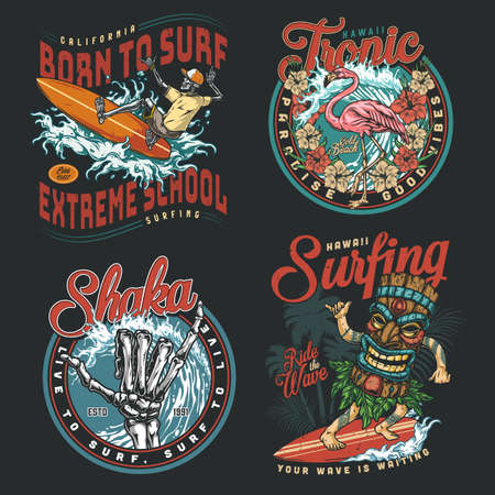 Hawaii surfing vintage colorful badges Stock Illustratie