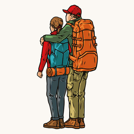 Colorful vintage concept of hikers couple
