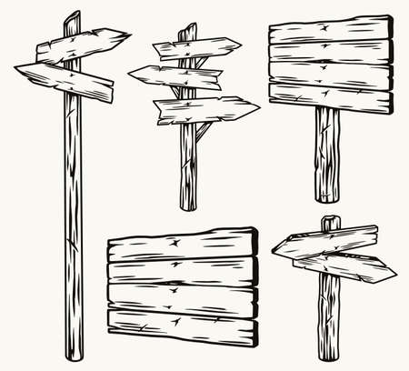 Wooden signboards and arrow signposts set Vector Illustratie