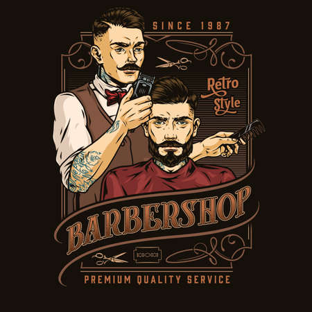 Barbershop vintage colorful label Vector Illustratie