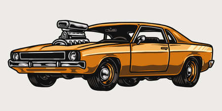 Orange custom muscle car vintage template