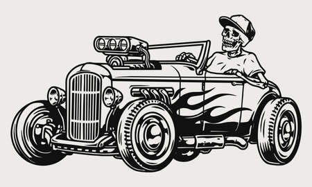 Custom racing car vintage monochrome concept
