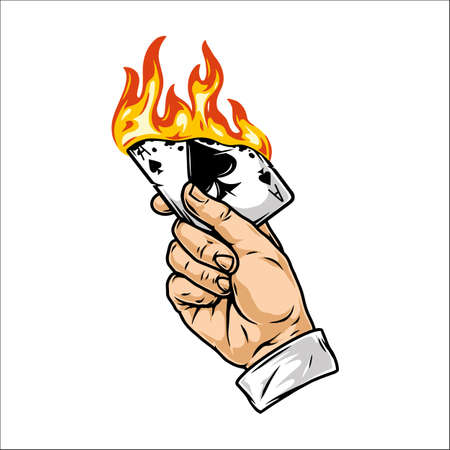 Male hand holding burning playing card