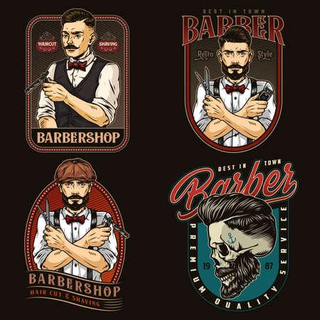 Vintage barbershop colorful labels