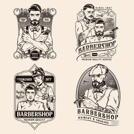 Barbershop vintage badges