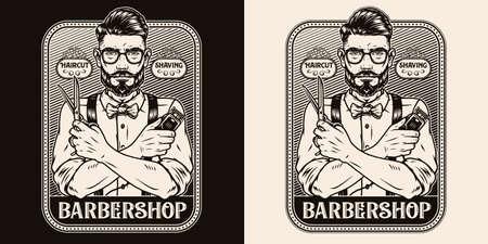 Barbershop vintage monochrome print Vector Illustratie