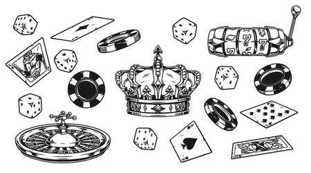 Casino elements vintage composition Vector Illustration