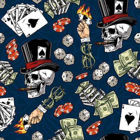 Gambling vintage seamless pattern